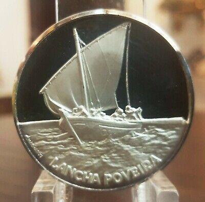 SILVER PROOF MEDAL FISHING BOATS SHIP LANCHA POVEIRA, usado comprar usado  Enviando para Brazil