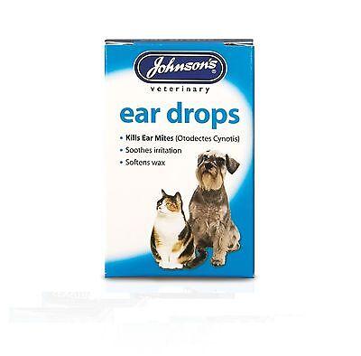 Johnsons Ear Drops for Cats & Dogs Kills Ear Mites - Softens Wax
