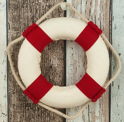 Deko Rettungsring 15 cm rot/weiß maritime Dekoration Wanddeko Fischernetz