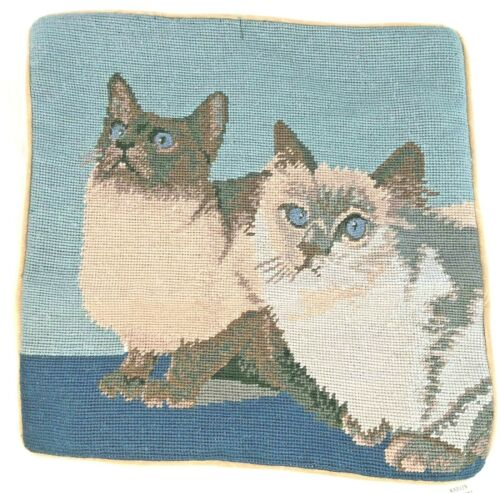 "Kittens Cat Needlepoint Pillowcase 16"" Square Velveteen Back Zipper PETIT POINT"