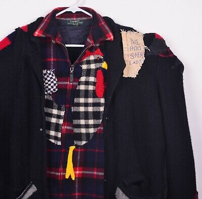 Handmade Rooster Lady Hobo Clown Oversized Wool Blend Plaid Rags Jacket