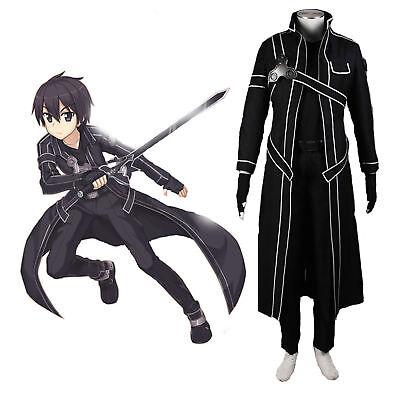 Anime Sao Sword Art Online Kirito Kazuto Kirigaya Cosplay Costume Trench Coats