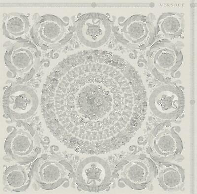 Versace Heritage Grey Silver Wallpaper Baroque Ornament Metallic Paste Wall