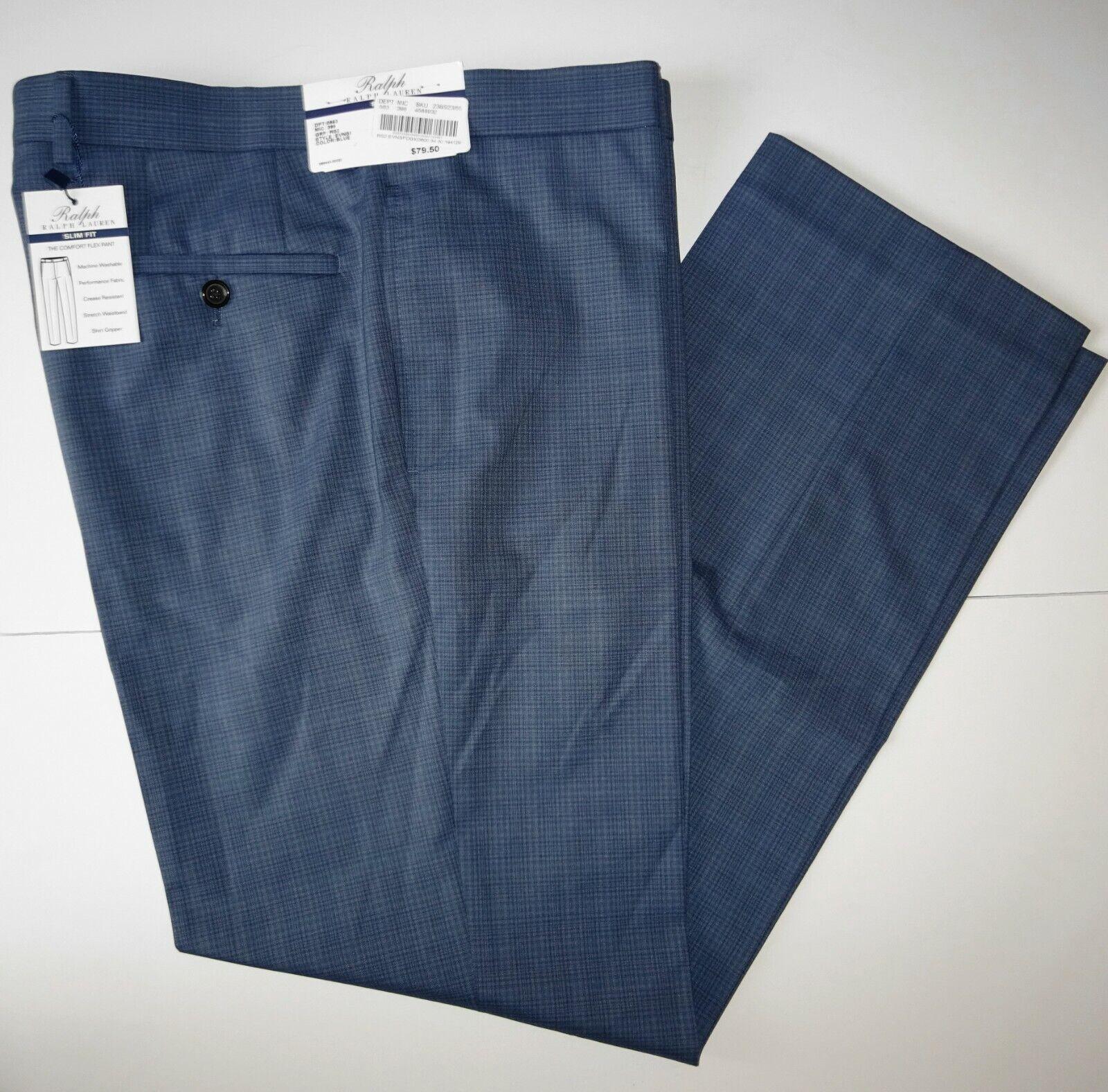 Polo Ralph Lauren Mens Dress Pants 38x30 Blue Slim Fit Mini
