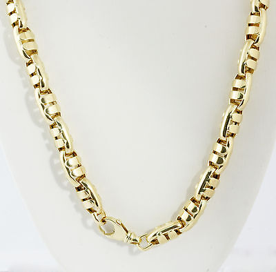 "80.30 gm 14k Yellow Gold Men's Bullet Italian Hollow Chain Necklace 24"" 10 mm"