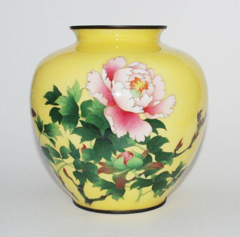 Large and Impressive Japanese Yellow Cloisonne Enamel Vase with Roses
