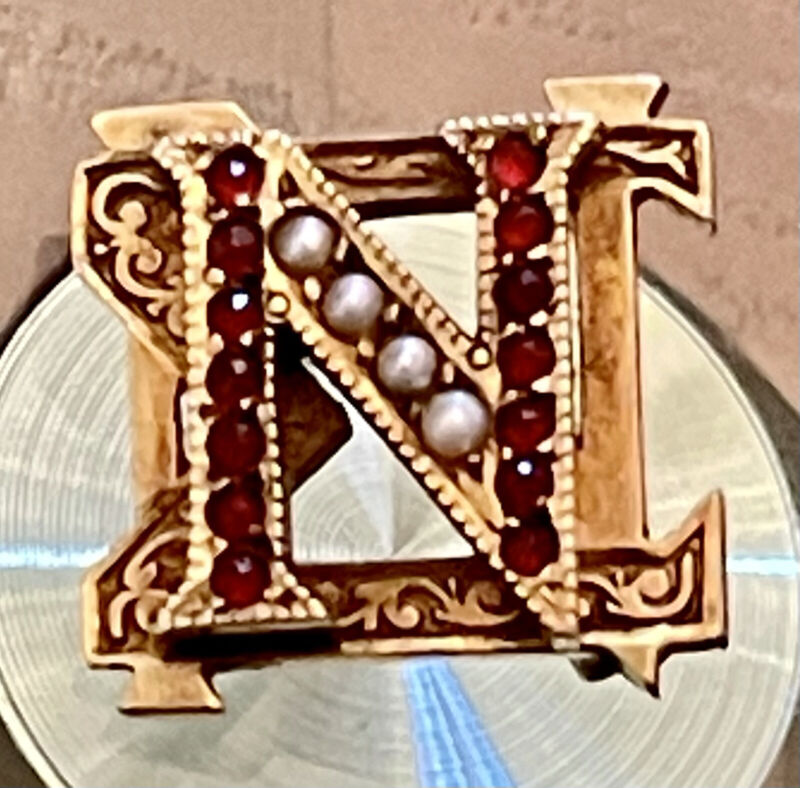 """14k Yellow Gold 1922 Garnet Seed Pearl Nu Sigma Nu Fraternity Pin 1/2"""""""