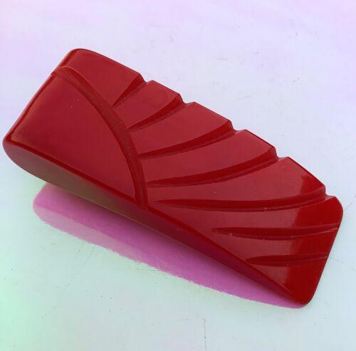 Art Deco VINTAGE Cherry Red Carved BAKELITE DRESS CLIP
