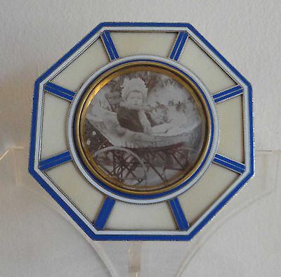Antique French Dépose Silver Enamel Photo Frame Count Raben-Levetzau Baby Photo
