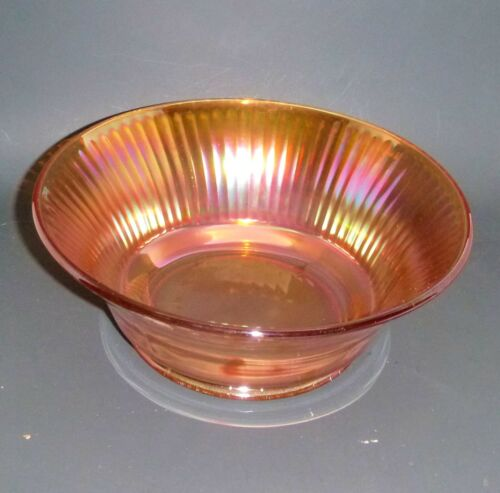 Iridescent rainbow Marigold Carnival Glass Ribbed Footed Master serving bowl