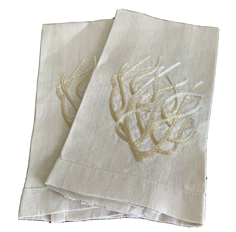 ANALI Natural Linen Guest Towels Embroidered Coral Branch Design - Set Of 2