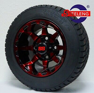 """GOLF CART 10"""" RED-BLACK VORTEX WHEELS and 205/50-10 DOT LOW PROFILE TIRES(4)"""