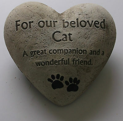 In Loving Memory Graveside Heart Plaque Stone - Beloved Cat Grave Memorial New