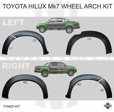 6pc Wheel Arch trim moulding kit for Toyota Hilux Pickup Mk7 extension flare