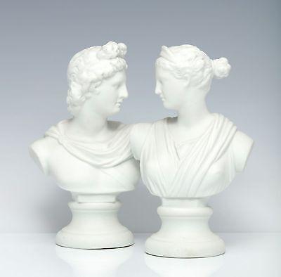 Apollo und Diana Paar Büsten um 1890 Biskuit Porzellan Grand Tour