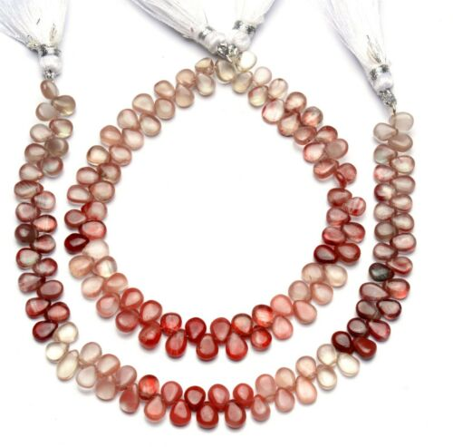 "Natural Andesine Labradorite Gem 6x4mm Size Smooth Pear Shape Beads 8.5"" Strand"