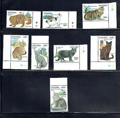 UGANDA 1242-1249 (SINGLES) & 1250-51 (S/S), 1994 CATS,  MNH (ID3830)