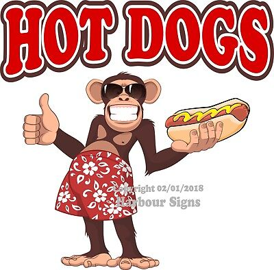 Hot Dogs Decal Choose Your Size Monkey Concession Food Truck Vinyl Sticker