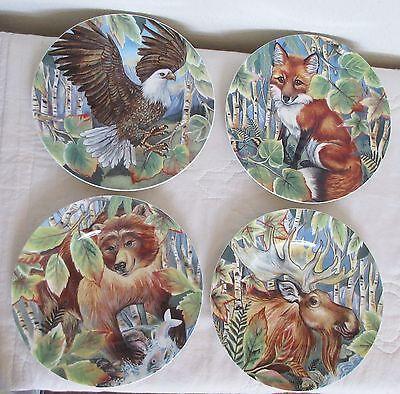 Fitz & Floyd Set of 4 High Sierra Eagle Fox Bear Moose Salad Plates