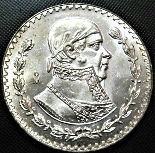 LARGE 34mm Brilliant Uncirculated Silver Mexico Un Peso Coin! Mexican Un Peso!