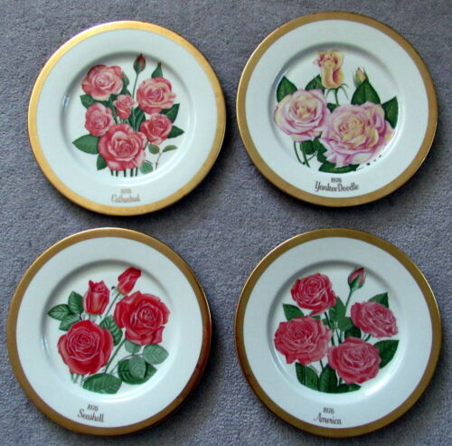 Set of 4 1976 All American Rose Society Plates Bookout Gorham China USA #2627