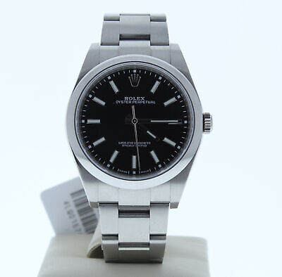 ROLEX OYSTER PERPETUAL 114300 39MM STEEL MENS WATCH BLACK INDEX Dial WITH CARD