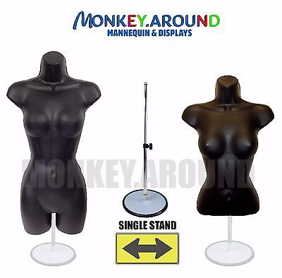 Clothing Display - 2 Black Mannequin Female Dress Body Form Hang Hooks Stand