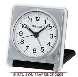 Seiko QHT015S New Travel Alarm Clock│Plastic Case│Light Beep alarm│Silver Analog
