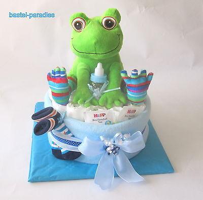 Windeltorte *Baby Junge blau* FROSCH Windel-Geschenk Taufe Geburt Mitbringsel