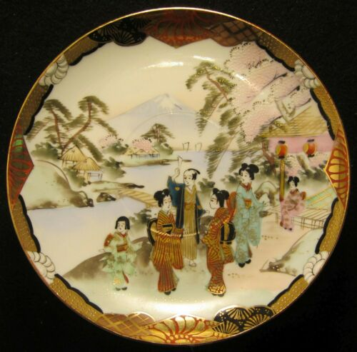 Vintage Japanese Porcelain Saucer, Hand Painted Gold, Family in Garden Mt. Fuji