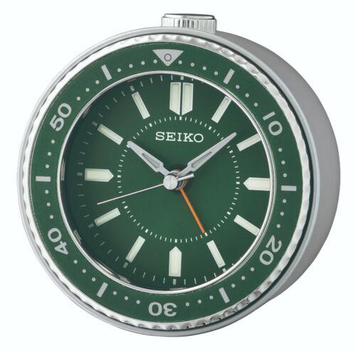 Seiko QHE184M Green Desk Alarm Clock Watch Sobremesa