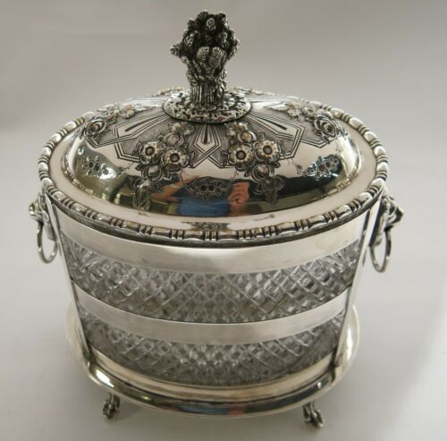 Antique Victorian Oval Biscuit Box / Ice Bucket. Glass & Sheffield Silver Plate.
