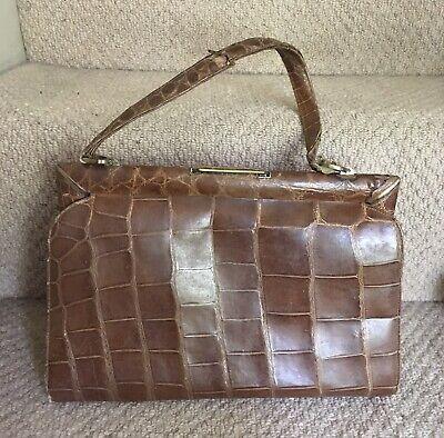 VINTAGE 1950s brown crocodile skin leather kelly bag