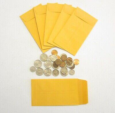 - 75 KRAFT COIN ENVELOPES WITH GUMMED FLAP CHANGE ENVELOPE #5 SIZE 3.125