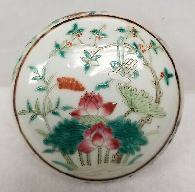 Antique Chinese Enamel Painted Porcelain Cosmetic Seal paste Box Famille Rose