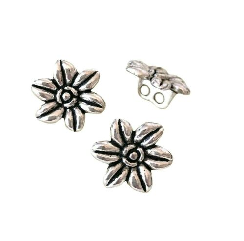 10 Tibetan Silver 14mm Flower Two Hole Double Shank Sewing Buttons Beads