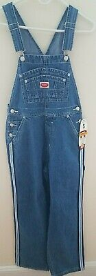 Revolt Womens Overalls S Stone Washed Denim Sky Blue/White Stripes Small New](Striped Overalls)