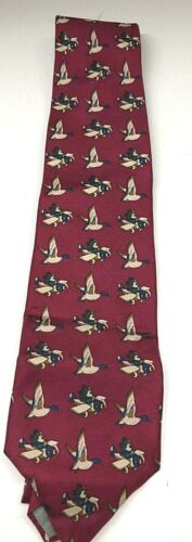VINTAGE Maroon Balancine Presents The Tie Works Mickey Airplane SILK Tie, DISNEY