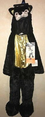 TODDLER GIRLS NEW NWT BLACK CAT GOLD TUMMY HALLOWEEN COSTUME 18-24 month furry! (Furry Black Cat Costume)