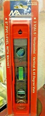 Torpedo Level Magnet Ma-line 9 Pvc 3 Vials Horizontal Vertical 45 Degree