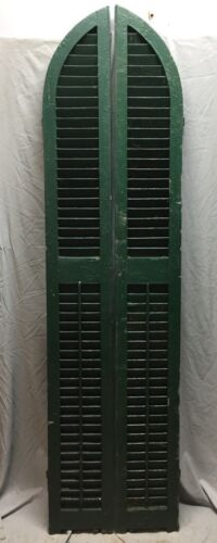 Antique Pair Arched Gothic Top Wood Window Louvered Shutters 10X81 Vtg 437-18C