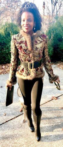 New Designer Oscar De La Renta Sequin Beads Russian Sable Trim Fur Coat Jacket S