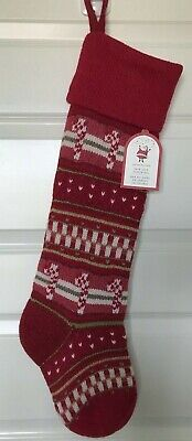 Pottery Barn Kids Christmas stocking candy cane red fair isle wool blend No Name