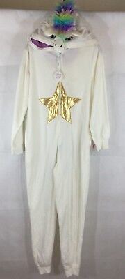 Unicorn Union Suit Womens Costume Small NWT Sleepwear Hood Tail Fleece Rainbow - Unicorn Tail Costume