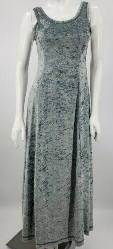 Vtg NWT 90s Velvet Maxi Theodore Dress Beverly Hills Small Ice Blue Sleeveless
