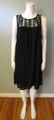 WOMEN'S BLACK MATERNITY DRESS - LACE NECKLINE - LIZ LANGE - SIZE L - NEW