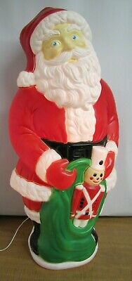 Grand Venture Blow Mold Santa Claus W/ Toy Bag Sack & Toy Soldier 39""