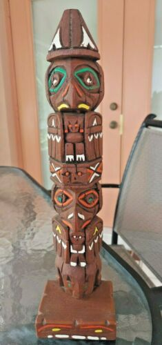 Wooden Totem Pole Hand Carved & Painted Approx.13