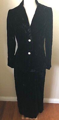 Vintage Buffums Velvet Suit Size 12 Black 100% Rayon Lined Rhinestone - Vintage Velvet Suit