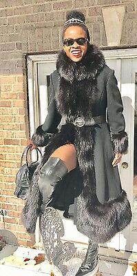 Designer Princess Swing Full length Black wool & fox Fur trim Coat Jacket S 0-8